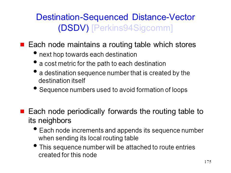 Destination-Sequenced Distance-Vector (DSDV) [Perkins94Sigcomm]